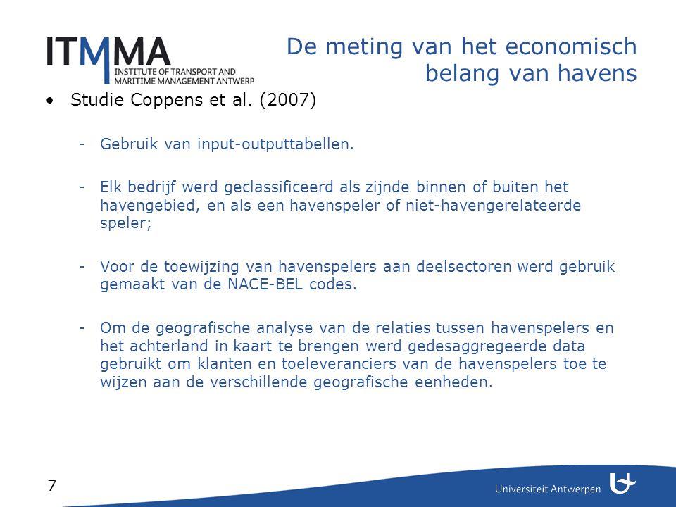 7 De meting van het economisch belang van havens Studie Coppens et al. (2007) -Gebruik van input-outputtabellen. -Elk bedrijf werd geclassificeerd als