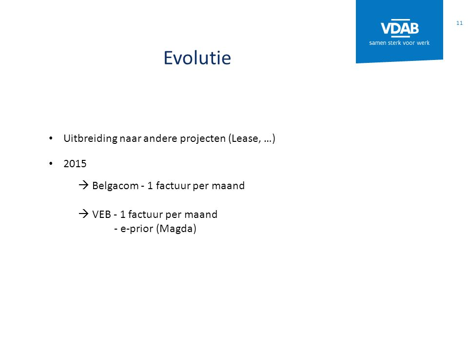 Evolutie Uitbreiding naar andere projecten (Lease, …) 2015  Belgacom - 1 factuur per maand  VEB - 1 factuur per maand - e-prior (Magda) 11