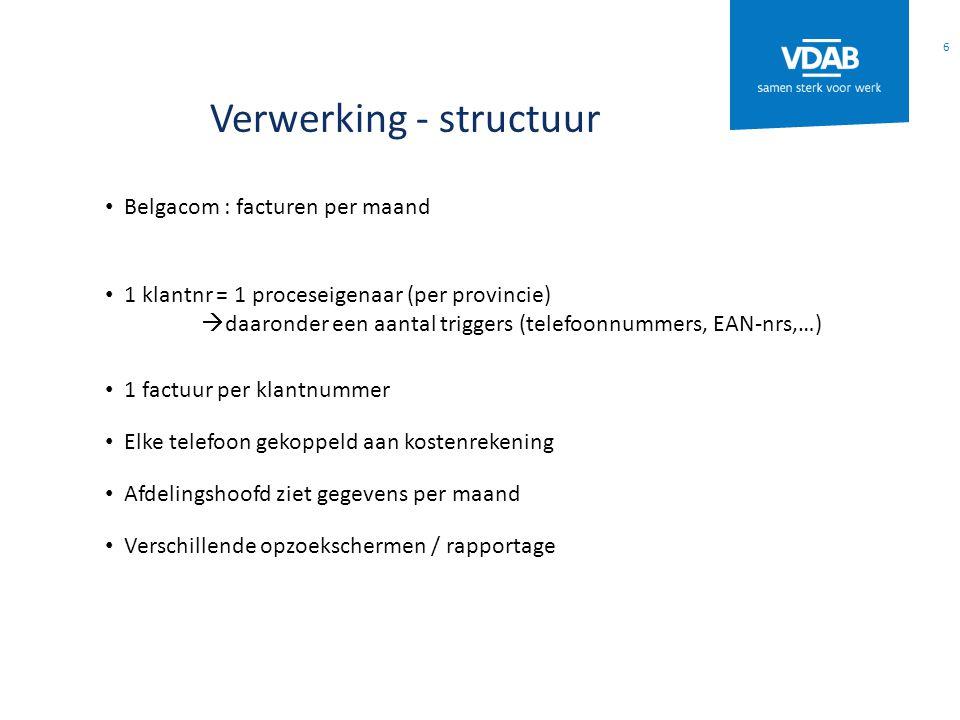 Verwerking - structuur Belgacom : facturen per maand 1 klantnr = 1 proceseigenaar (per provincie)  daaronder een aantal triggers (telefoonnummers, EA