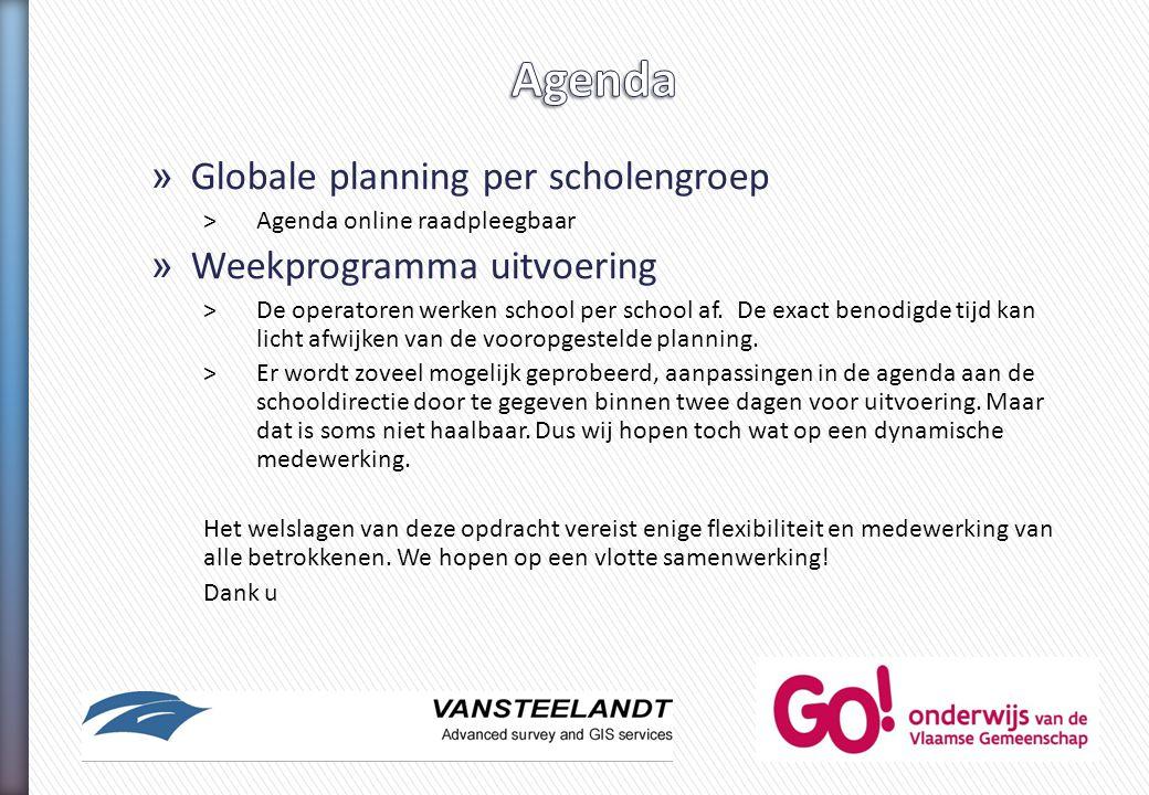 » Globale planning per scholengroep >Agenda online raadpleegbaar » Weekprogramma uitvoering >De operatoren werken school per school af. De exact benod