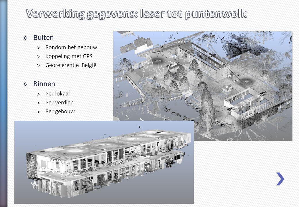 » Buiten ˃Rondom het gebouw ˃Koppeling met GPS ˃Georeferentie België » Binnen ˃Per lokaal ˃Per verdiep ˃Per gebouw