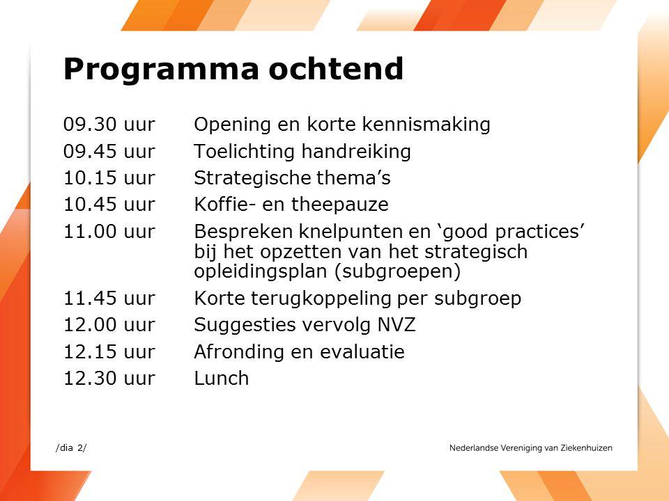 Programma middag 13.30 uurOpening en korte kennismaking 13.45 uurToelichting handreiking 14.15 uurStrategische thema's 14.45 uur Koffie- en theepauze 15.00 uurBespreken knelpunten en 'good practices' bij het opzetten van het strategisch opleidingsplan (subgroepen) 15.45 uurKorte terugkoppeling per subgroep 16.00 uurSuggesties vervolg NVZ 16.15 uurAfronding en evaluatie 16.30 uurAfsluiting /dia 3/