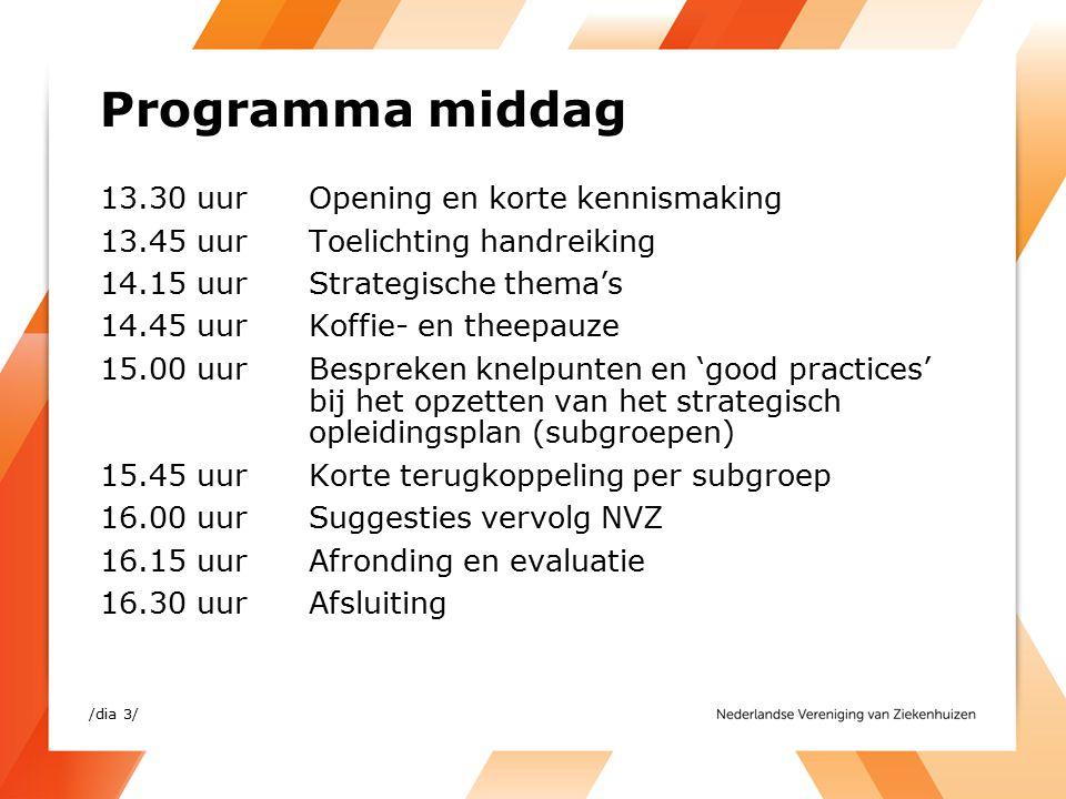 Programma middag 13.30 uurOpening en korte kennismaking 13.45 uurToelichting handreiking 14.15 uurStrategische thema's 14.45 uur Koffie- en theepauze