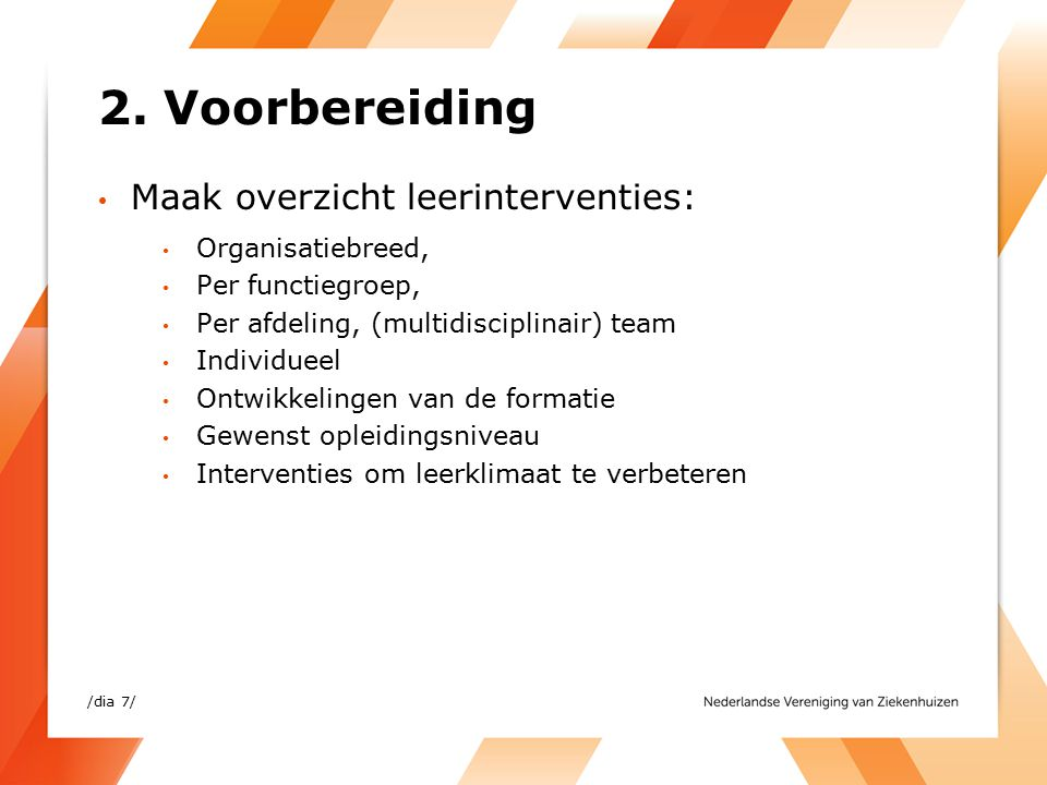 2. Voorbereiding Maak overzicht leerinterventies: Organisatiebreed, Per functiegroep, Per afdeling, (multidisciplinair) team Individueel Ontwikkelinge