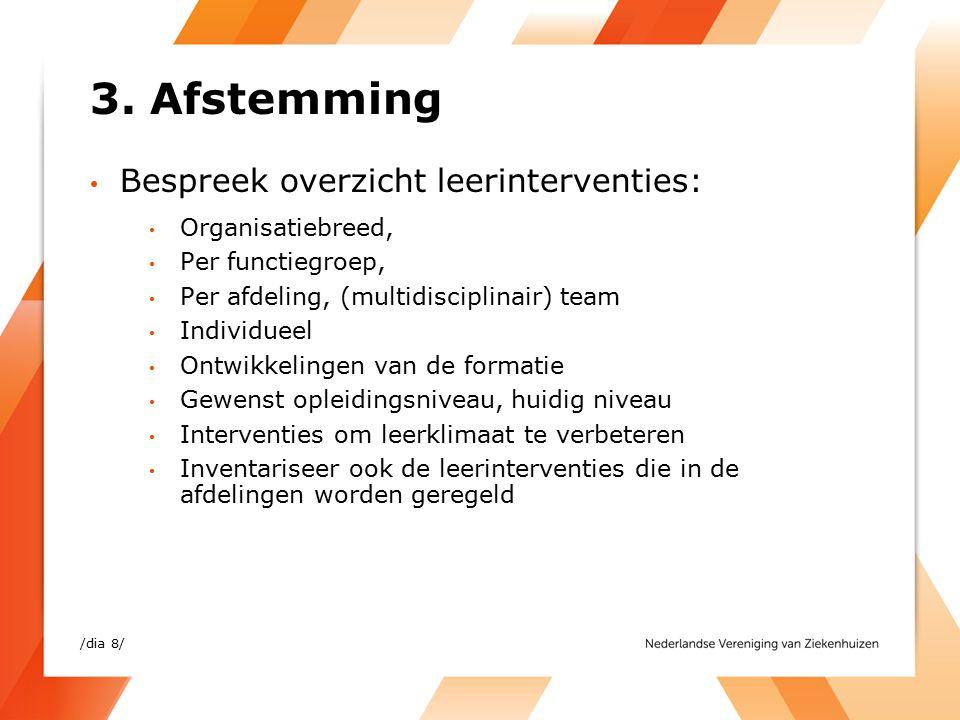 3. Afstemming Bespreek overzicht leerinterventies: Organisatiebreed, Per functiegroep, Per afdeling, (multidisciplinair) team Individueel Ontwikkeling