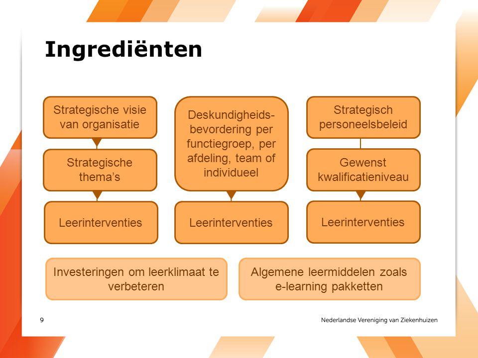 Ingrediënten Strategische visie van organisatie Strategische thema's Leerinterventies Strategisch personeelsbeleid Gewenst kwalificatieniveau Leerinte