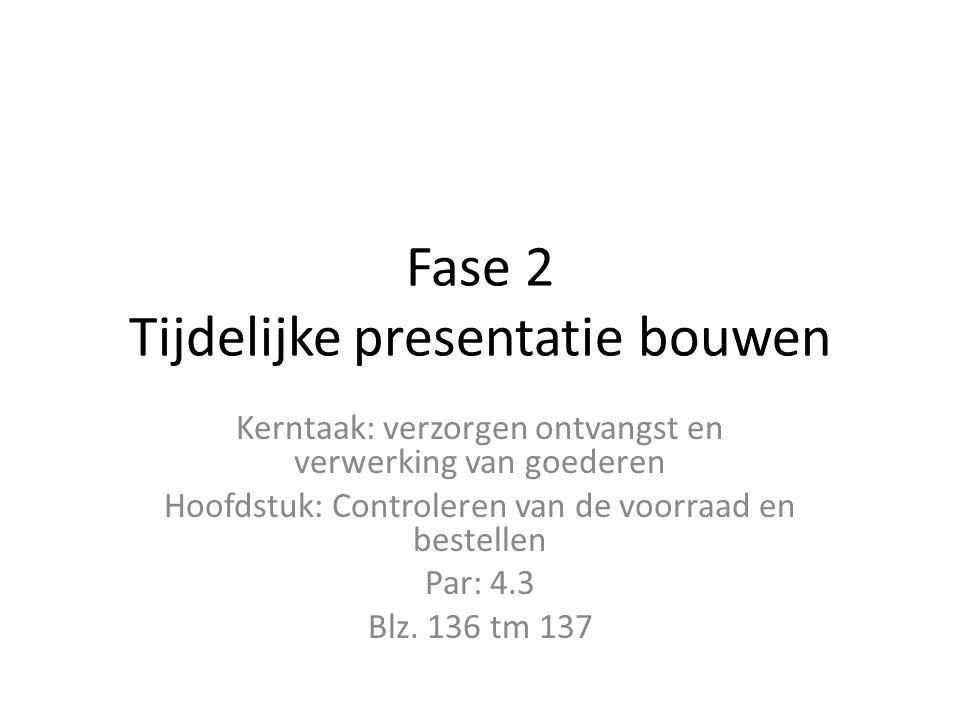 Fase 2 Tijdelijke presentatie bouwen Kerntaak: verzorgen ontvangst en verwerking van goederen Hoofdstuk: Controleren van de voorraad en bestellen Par: 4.3 Blz.