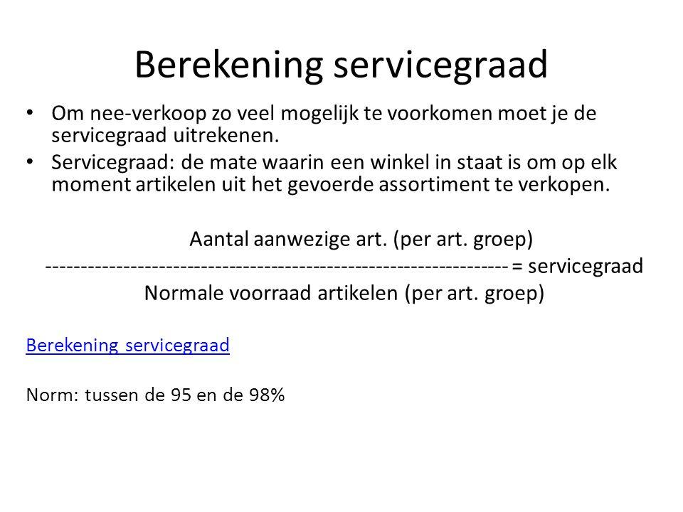 Berekening servicegraad Om nee-verkoop zo veel mogelijk te voorkomen moet je de servicegraad uitrekenen.