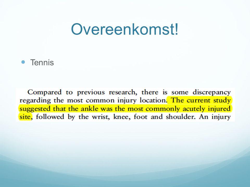 Overeenkomst! Tennis