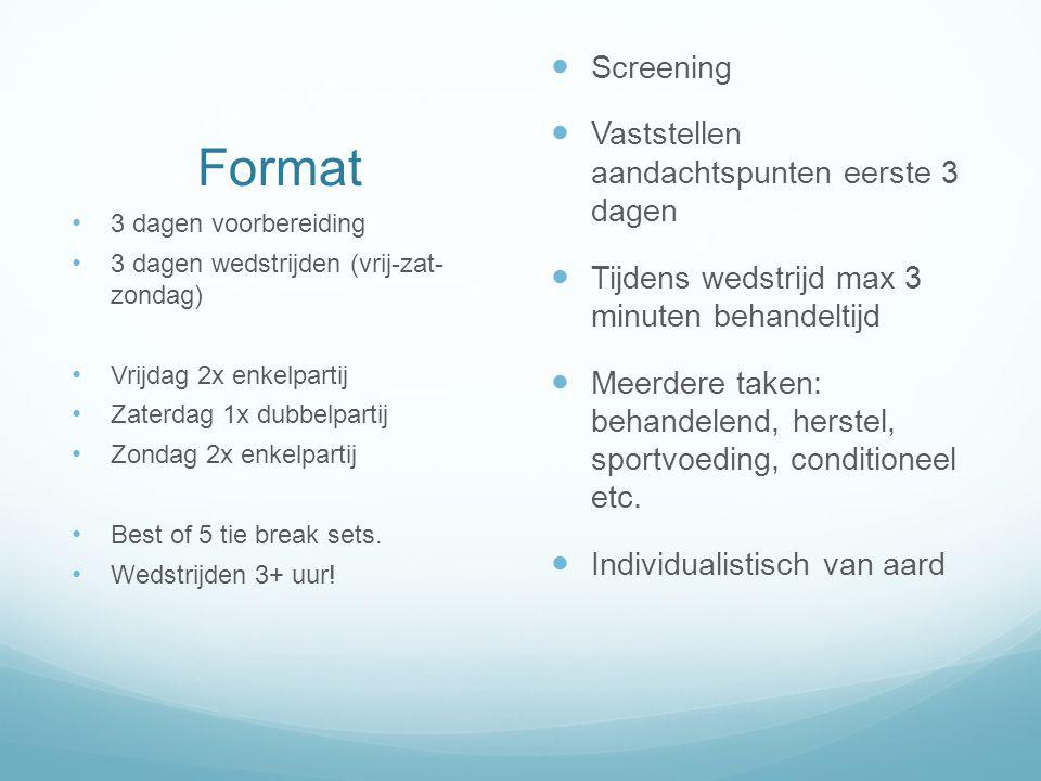 Format Screening Vaststellen aandachtspunten eerste 3 dagen Tijdens wedstrijd max 3 minuten behandeltijd Meerdere taken: behandelend, herstel, sportvo