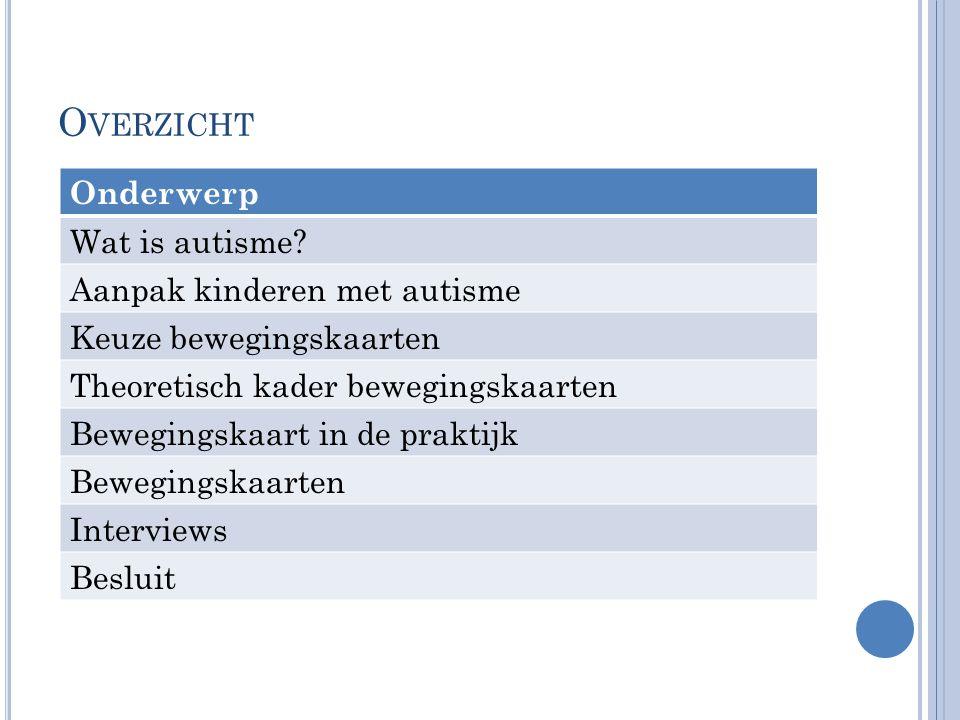 O VERZICHT Onderwerp Wat is autisme? Aanpak kinderen met autisme Keuze bewegingskaarten Theoretisch kader bewegingskaarten Bewegingskaart in de prakti