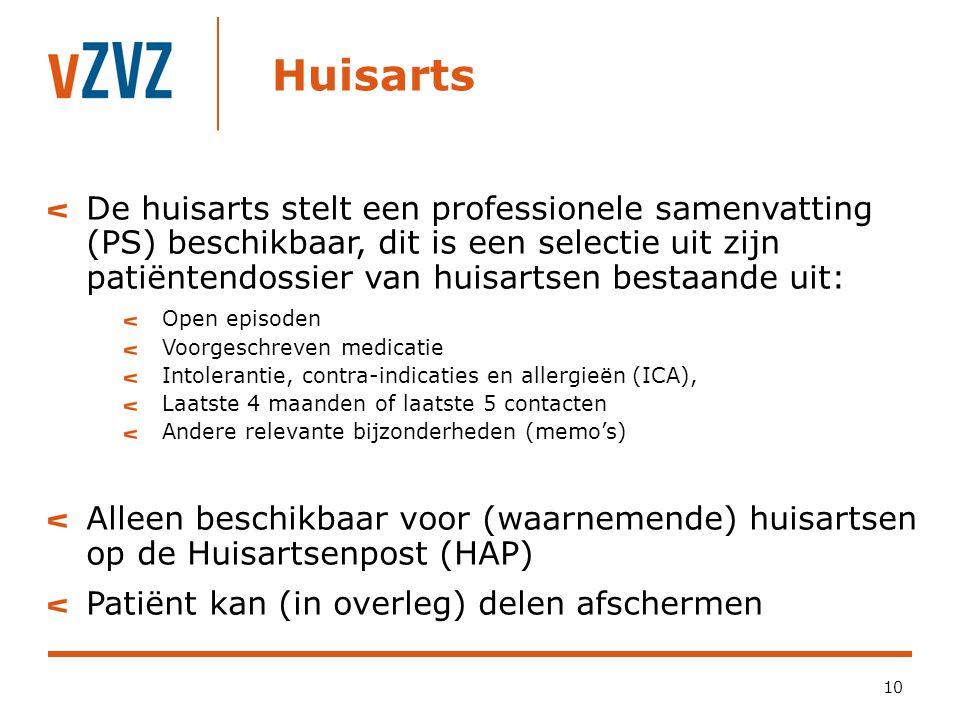 Huisarts 10 De huisarts stelt een professionele samenvatting (PS) beschikbaar, dit is een selectie uit zijn patiëntendossier van huisartsen bestaande