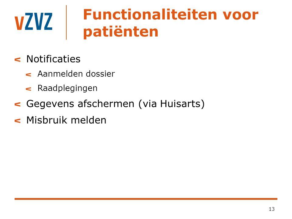 Functionaliteiten voor patiënten 13 Notificaties Aanmelden dossier Raadplegingen Gegevens afschermen (via Huisarts) Misbruik melden