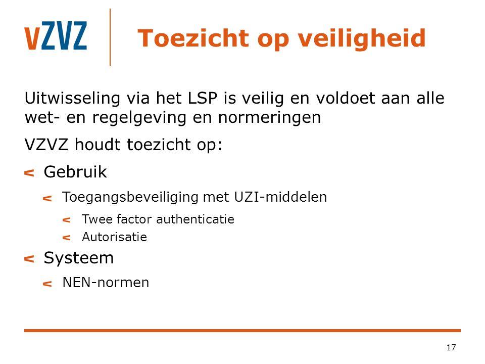 Toezicht op veiligheid 17 Uitwisseling via het LSP is veilig en voldoet aan alle wet- en regelgeving en normeringen VZVZ houdt toezicht op: Gebruik To