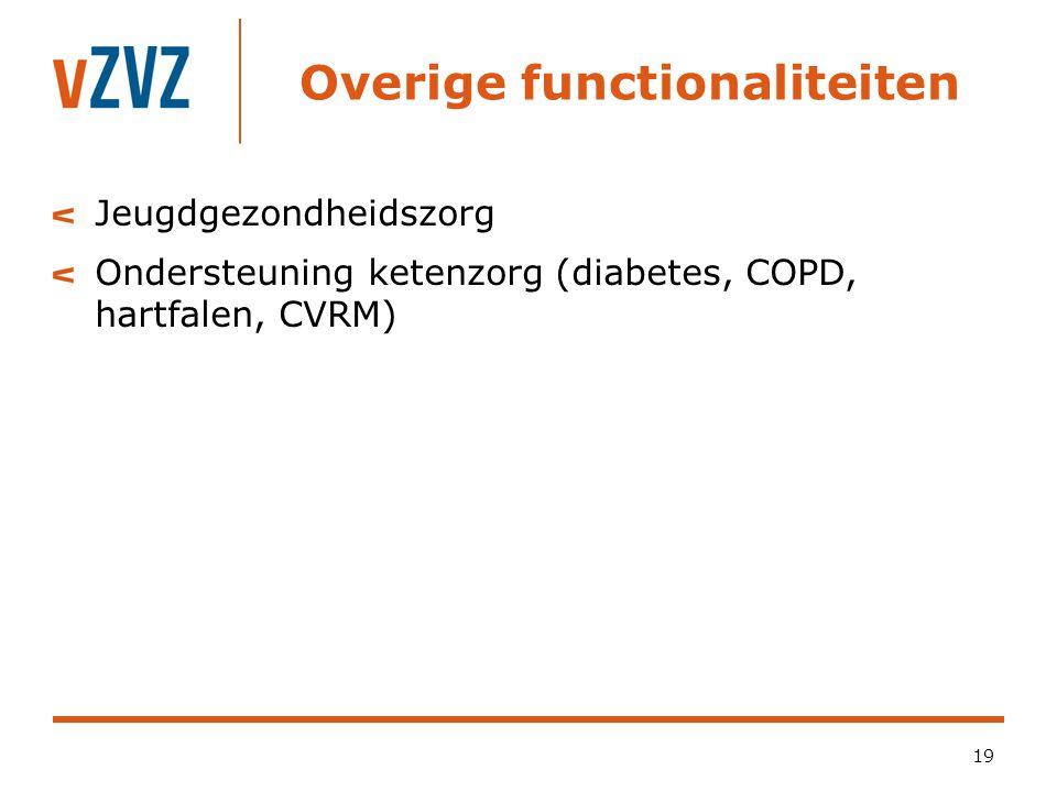 Overige functionaliteiten 19 Jeugdgezondheidszorg Ondersteuning ketenzorg (diabetes, COPD, hartfalen, CVRM)