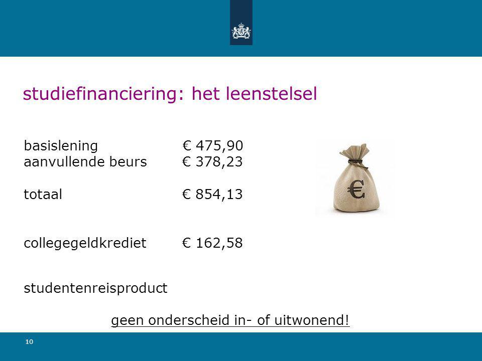 10 studiefinanciering: het leenstelsel basislening € 475,90 aanvullende beurs € 378,23 totaal € 854,13 collegegeldkrediet € 162,58 studentenreisproduc