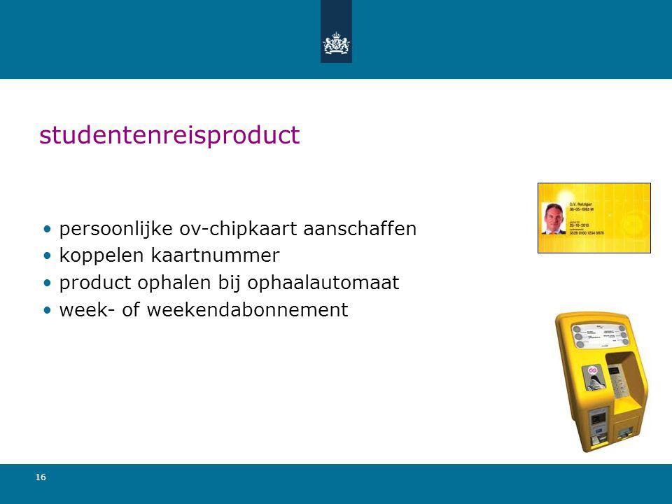 16 studentenreisproduct persoonlijke ov-chipkaart aanschaffen koppelen kaartnummer product ophalen bij ophaalautomaat week- of weekendabonnement