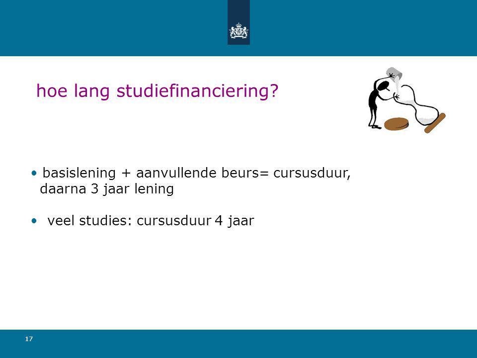 17 hoe lang studiefinanciering? basislening + aanvullende beurs= cursusduur, daarna 3 jaar lening veel studies: cursusduur 4 jaar