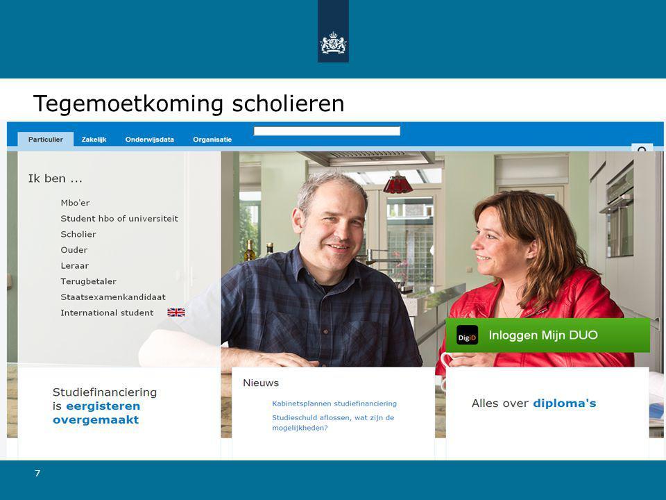 7 Tegemoetkoming scholieren Aanvraagformulier via: duo.nl