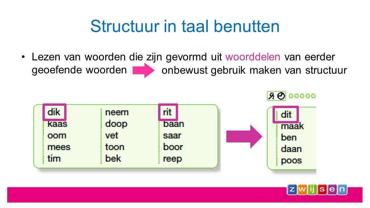 Structuur in taal benutten Maximale structuuroverlap tussen woorden zichtbaar maken op alle niveaus : mk, mm, km expliciet structuur tonen