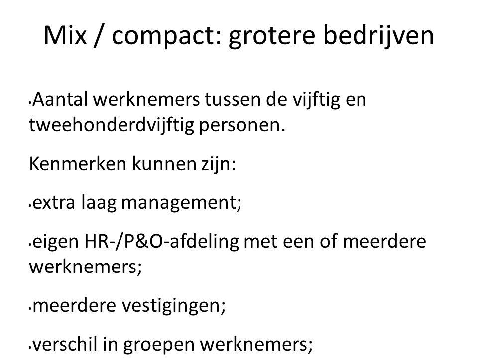 Mix / compact: grotere bedrijven Aantal werknemers tussen de vijftig en tweehonderdvijftig personen. Kenmerken kunnen zijn: extra laag management; eig