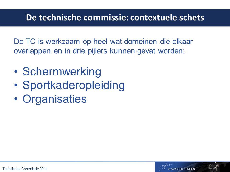 De technische commissie: contextuele schets Technische Commissie 2014 De TC is werkzaam op heel wat domeinen die elkaar overlappen en in drie pijlers kunnen gevat worden: Schermwerking Sportkaderopleiding Organisaties