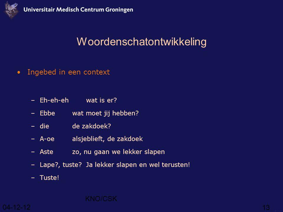 04-12-12 KNO/CSK 13 Woordenschatontwikkeling Ingebed in een context –Eh-eh-ehwat is er.
