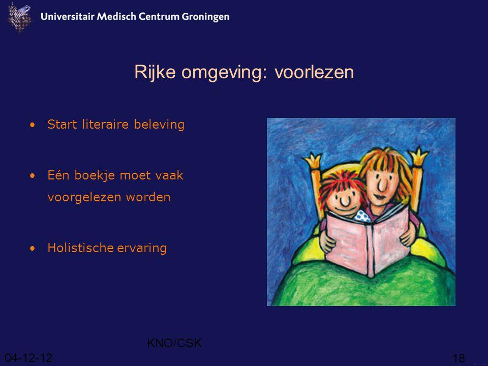 04-12-12 KNO/CSK 18 Rijke omgeving: voorlezen Start literaire beleving Eén boekje moet vaak voorgelezen worden Holistische ervaring