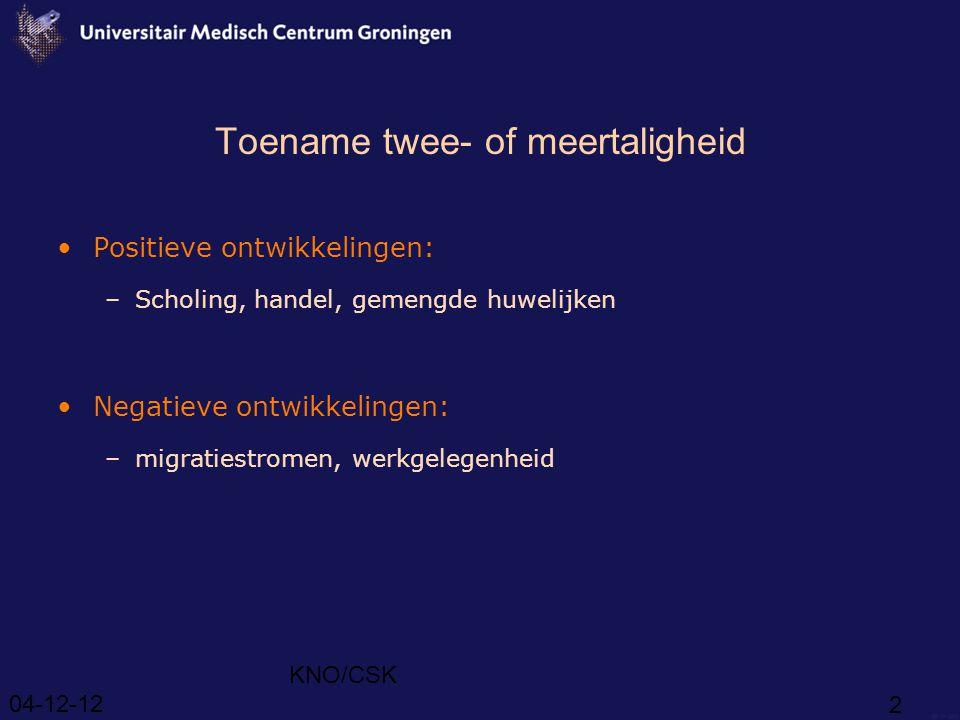 04-12-12 KNO/CSK 2 Toename twee- of meertaligheid Positieve ontwikkelingen: –Scholing, handel, gemengde huwelijken Negatieve ontwikkelingen: –migratiestromen, werkgelegenheid