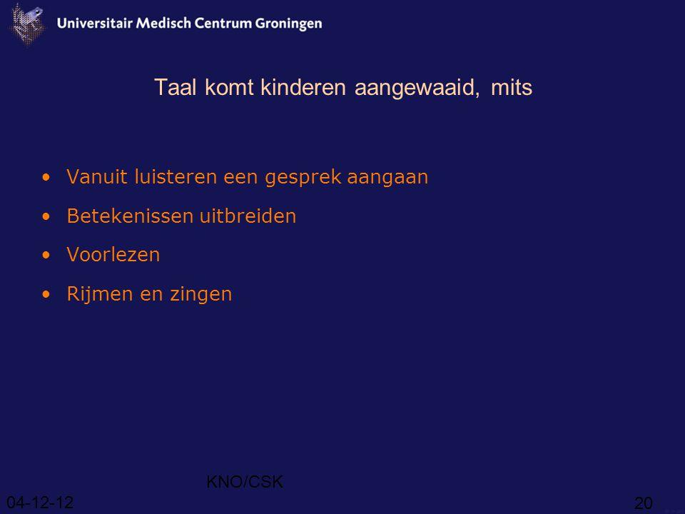 04-12-12 KNO/CSK 20 Taal komt kinderen aangewaaid, mits Vanuit luisteren een gesprek aangaan Betekenissen uitbreiden Voorlezen Rijmen en zingen