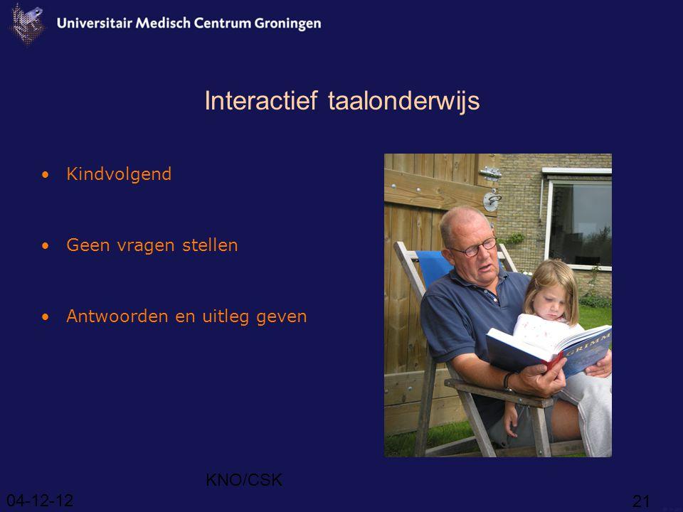 04-12-12 KNO/CSK 21 Interactief taalonderwijs Kindvolgend Geen vragen stellen Antwoorden en uitleg geven