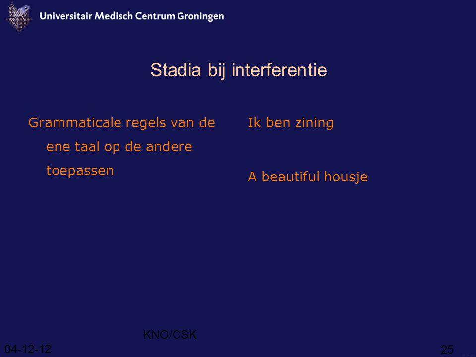 04-12-12 KNO/CSK 25 Stadia bij interferentie Grammaticale regels van de ene taal op de andere toepassen Ik ben zining A beautiful housje