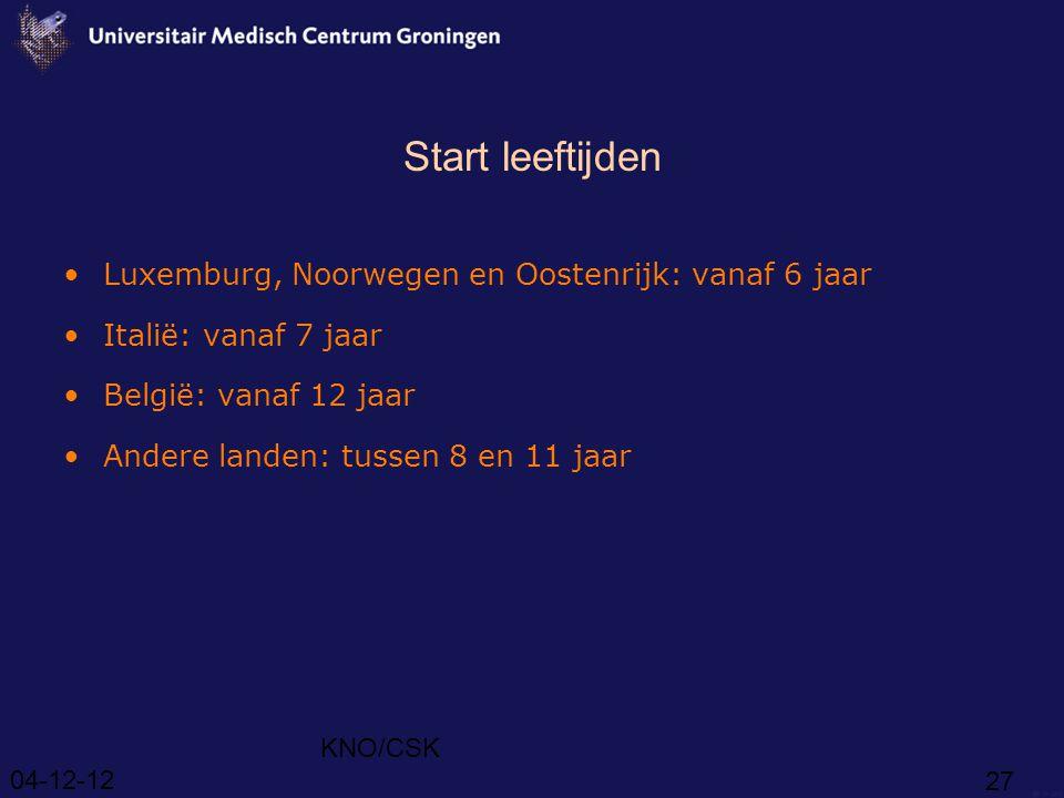 04-12-12 KNO/CSK 27 Start leeftijden Luxemburg, Noorwegen en Oostenrijk: vanaf 6 jaar Italië: vanaf 7 jaar België: vanaf 12 jaar Andere landen: tussen 8 en 11 jaar