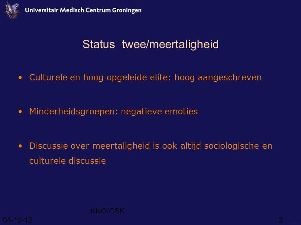 04-12-12 KNO/CSK 3 Status twee/meertaligheid Culturele en hoog opgeleide elite: hoog aangeschreven Minderheidsgroepen: negatieve emoties Discussie over meertaligheid is ook altijd sociologische en culturele discussie