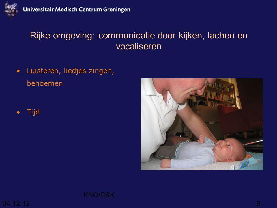 04-12-12 KNO/CSK 10 Tweede levensjaar Woordbegrip (2) persoonlijk woordenboek Woordproductie (5)