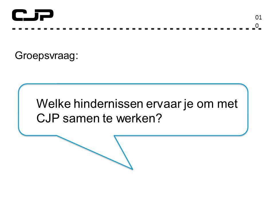 01010 Groepsvraag: Welke hindernissen ervaar je om met CJP samen te werken