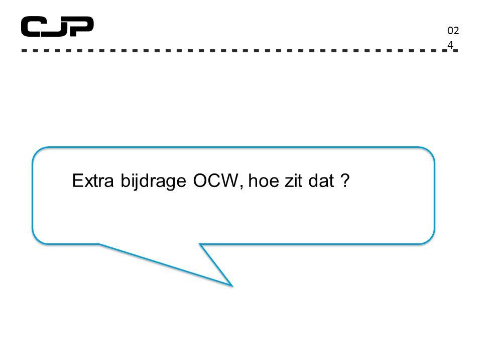 02424 Extra bijdrage OCW, hoe zit dat
