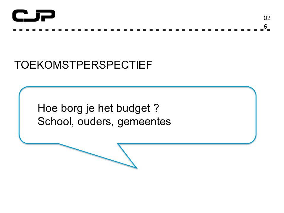 TOEKOMSTPERSPECTIEF 02626 Hoe borg je het budget School, ouders, gemeentes