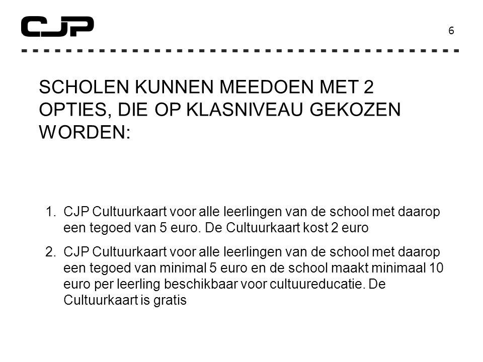 6 SCHOLEN KUNNEN MEEDOEN MET 2 OPTIES, DIE OP KLASNIVEAU GEKOZEN WORDEN: 1.CJP Cultuurkaart voor alle leerlingen van de school met daarop een tegoed van 5 euro.