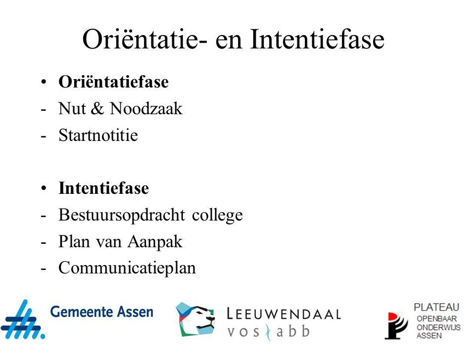 Oriëntatie- en Intentiefase Oriëntatiefase -Nut & Noodzaak -Startnotitie Intentiefase -Bestuursopdracht college -Plan van Aanpak -Communicatieplan