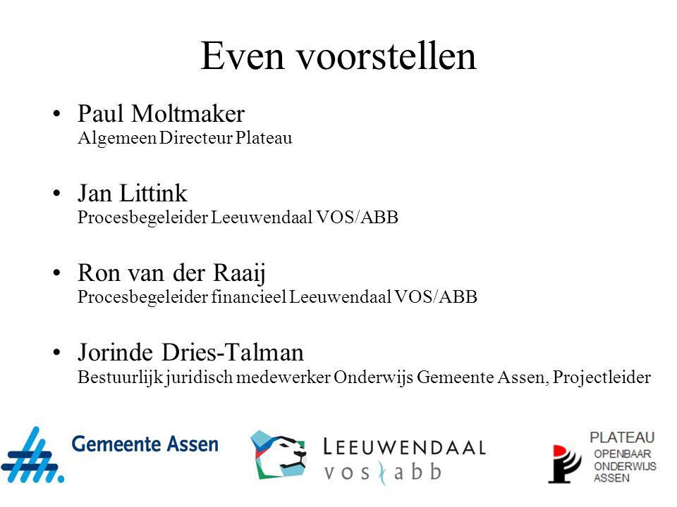 Even voorstellen Paul Moltmaker Algemeen Directeur Plateau Jan Littink Procesbegeleider Leeuwendaal VOS/ABB Ron van der Raaij Procesbegeleider financi