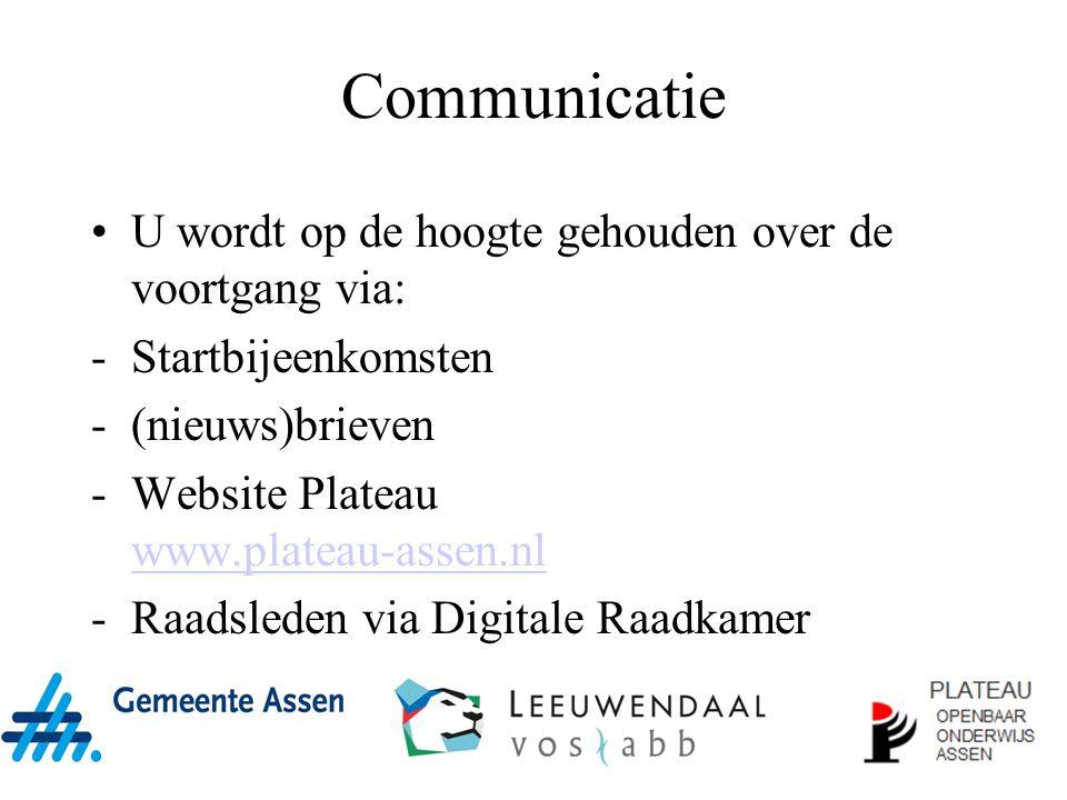 Communicatie U wordt op de hoogte gehouden over de voortgang via: -Startbijeenkomsten -(nieuws)brieven -Website Plateau www.plateau-assen.nl www.plateau-assen.nl -Raadsleden via Digitale Raadkamer