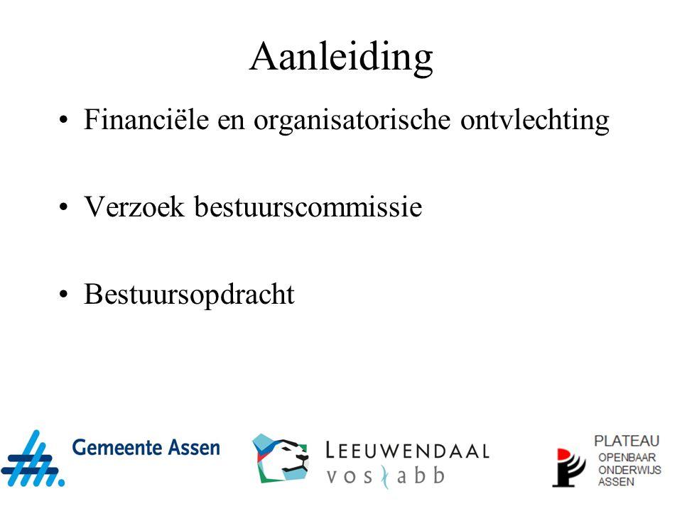 Aanleiding Financiële en organisatorische ontvlechting Verzoek bestuurscommissie Bestuursopdracht