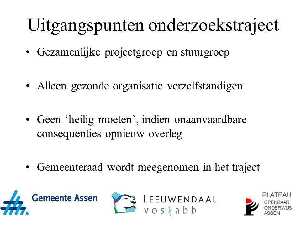 Uitgangspunten onderzoekstraject Gezamenlijke projectgroep en stuurgroep Alleen gezonde organisatie verzelfstandigen Geen 'heilig moeten', indien onaa