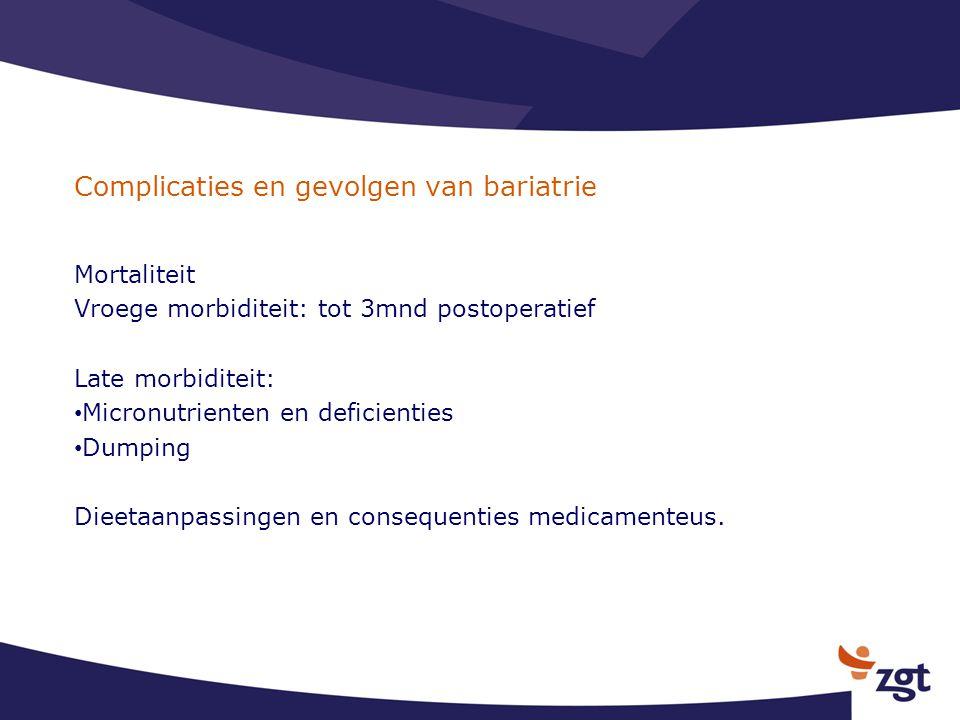 Complicaties en gevolgen van bariatrie Mortaliteit Vroege morbiditeit: tot 3mnd postoperatief Late morbiditeit: Micronutrienten en deficienties Dumpin
