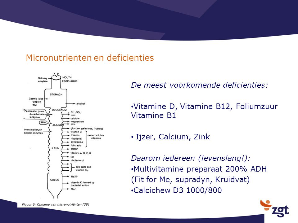 Micronutrienten en deficienties De meest voorkomende deficienties: Vitamine D, Vitamine B12, Foliumzuur Vitamine B1 Ijzer, Calcium, Zink Daarom iedere