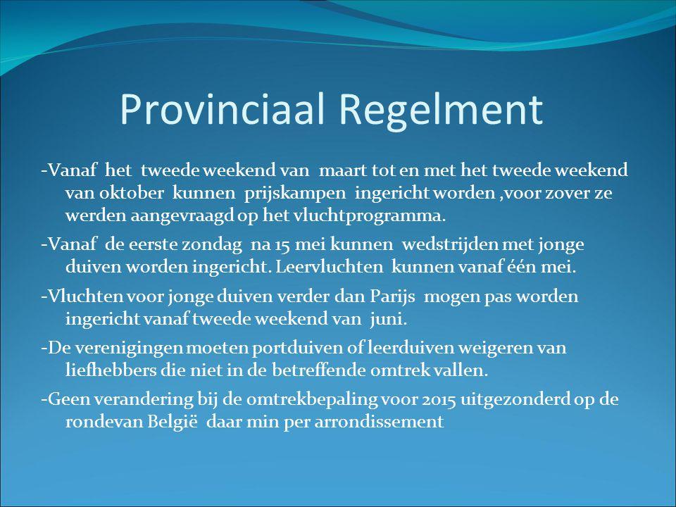 Provinciaal Regelment -Vanaf het tweede weekend van maart tot en met het tweede weekend van oktober kunnen prijskampen ingericht worden,voor zover ze