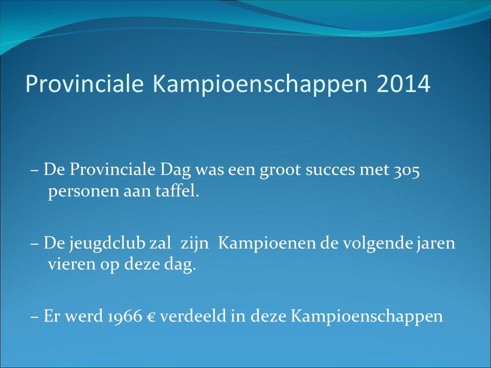 Provinciale Kampioenschappen 2014 – De Provinciale Dag was een groot succes met 305 personen aan taffel. – De jeugdclub zal zijn Kampioenen de volgend