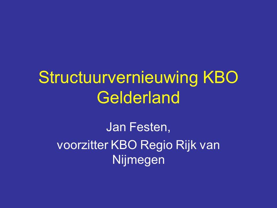 Structuurvernieuwing KBO Gelderland Jan Festen, voorzitter KBO Regio Rijk van Nijmegen