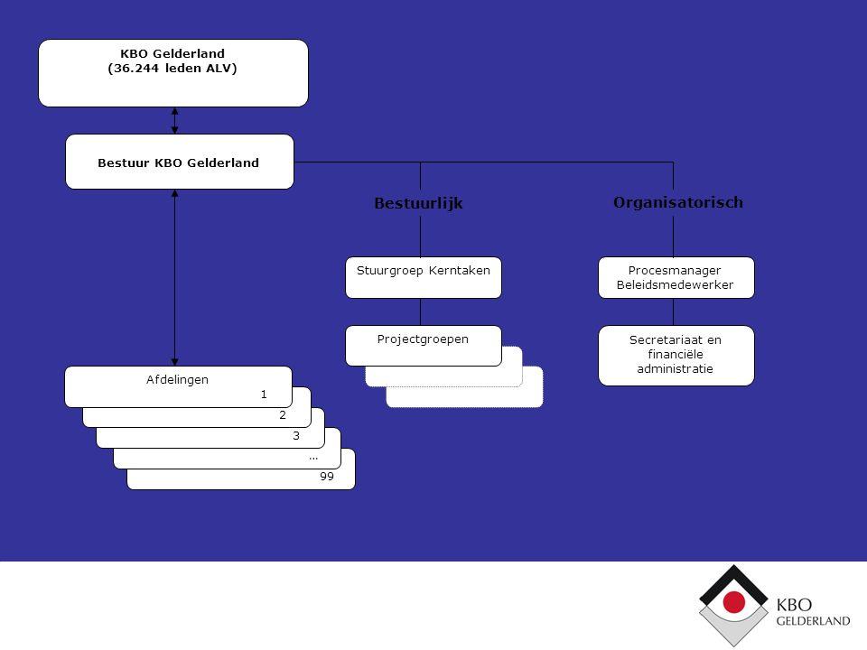 Projectgroepen 99 Procesmanager Beleidsmedewerker Secretariaat en financiële administratie Stuurgroep Kerntaken KBO Gelderland (36.244 leden ALV) Best